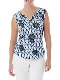 Olsen Batik Sleeveless Top COBALT BLUE