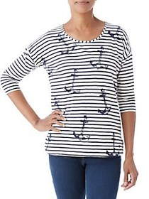Olsen Stripes and Anchor Printed Top DARK PACIFIC