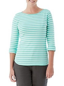 Olsen Stripe Cotton Tee NEW JADE