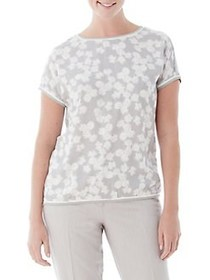 Olsen Woven-Front Aster Print Tee SILVER