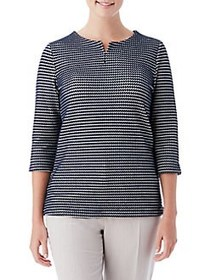 Olsen Jacquard Two-Tone Top DARK PACIFIC