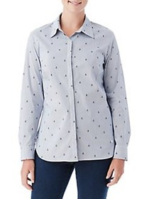 Olsen Anchor Stripe Button-Down Shirt DARK PACIFIC