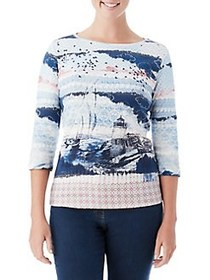 Olsen Lighthouse Print Top DARK PACIFIC
