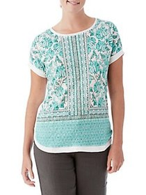Olsen New Shape Print Linen Tee NEW JADE