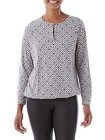 Olsen Printed Drawstring Blouse DARK SHADOW