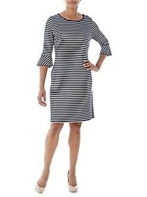 Olsen Striped Bell Sleeve Dress DARK PACIFIC