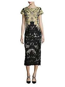 JS Collections Boatneck Two-Tone Embroidered Dress