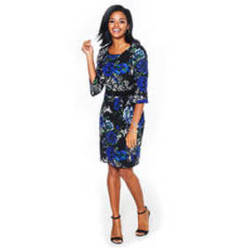Connected Apparel Belted Bell Sleeve Floral Crepe