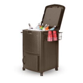 Suncast Wicker Patio Cooler Cart with Cabinet, DCC