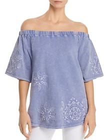 Billy T Billy T - Embroidered Off-the-Shoulder Top