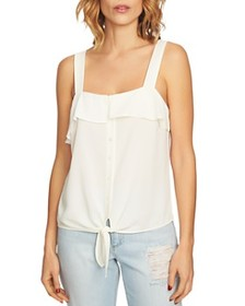 1.STATE 1.STATE - Ruffle-Trim Tie-Front Top