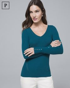 Petite Button-Detail V-Neck Sweater