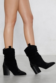 Ruche to the Top Faux Suede Boot