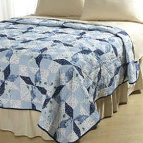 Plymouth Star Print Quilt - Blue