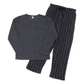 Mens Essential 2pc. Thermal Henley Pajama Set - Wh