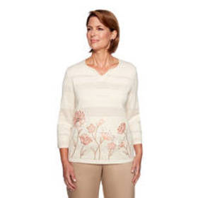 Alfred Dunner Good To Go Border Floral Sweater
