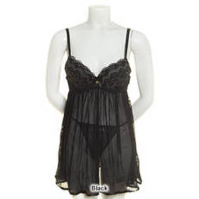 Daisy Fuentes Cross Dyed Lace Babydoll with Thong