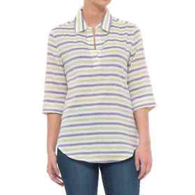 Lilla P Striped Popover Shirt - Elbow Sleeve (For