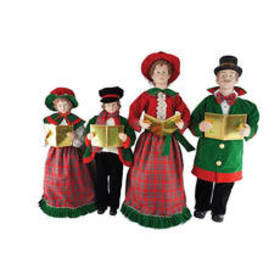 4pc. Christmas Day Carolers Red & Green Set
