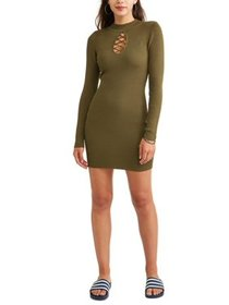 Say What? Long Sleeve Cage Front Ribbed Bodycon Dr