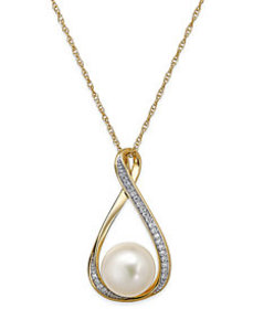 Cultured Freshwater Pearl (9mm) and Diamond Accent