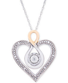"Diamond Two-Tone Heart 18"" Necklace (1/10 ct. t.w."