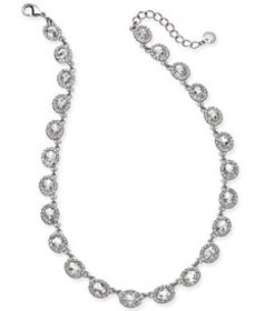 Charter Club Silver-Tone Crystal Collar Necklace,