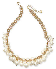 Charter Club Gold-Tone Shaky Faux Pearl Collar Nec