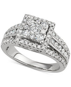 Diamond Square Cluster Halo Engagement Ring (1-1/2