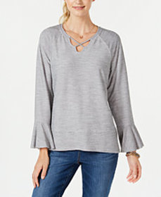 Style & Co X-Front Bell-Sleeve Top, Created for Ma