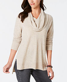 Style & Co Tweed Cowl-Neck High-Low Sweater, Creat