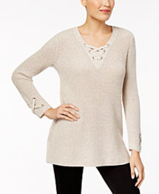 Style & Co Lace-Up Tunic Sweater, Created for Macy