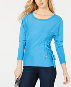 I.N.C. Scoop-Neck Lace-Up Sweater, Created for Mac
