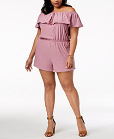 Planet Gold Trendy Plus Size Off-The-Shoulder Romp
