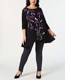 Alfani Plus Printed High-Low Tunic Collection, Cre