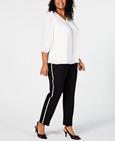 JM Collection Glitter Blouse and Side Stripe Pants
