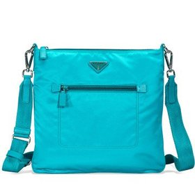 PradaNylon and Leather Crossbody Bag- Turquoise