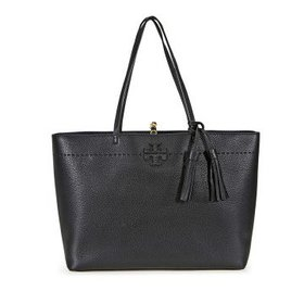 Tory BurchMcGraw Leather Tote - Black / Royal Navy