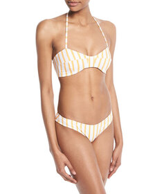 Caroline Constas Kali Striped Halter Swim Top