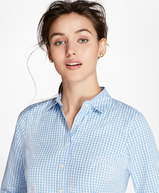 Non-Iron Tailored-Fit Gingham Stretch Cotton Fun S