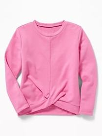 Twist-Front French Terry Sweatshirt for Girls