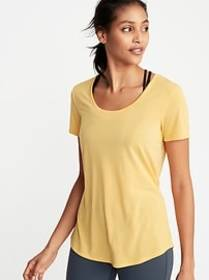 Relaxed Cutout-Back Performance Tee for Women