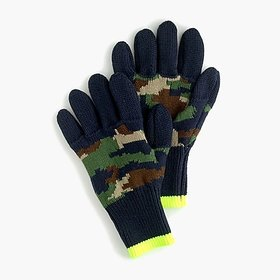 Kids' knit gloves in camo colorblock