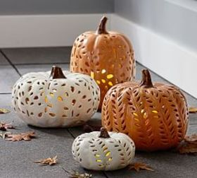 Punched Ceramic Pumpkin Candleholders