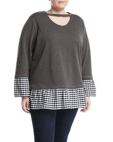 Neiman Marcus Plus Gingham-Trim Sweatshirt Plus Si