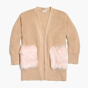 Girls' long cardigan sweater with fur pockets