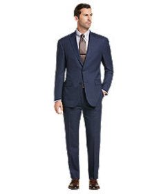 Traveler Collection Tailored Fit Grid Pattern Suit