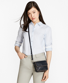 Petite Honeycomb-Weave Cotton Fitted Shirt