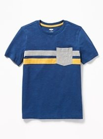 Color-Blocked Chest-Stripe Pocket Tee for Boys