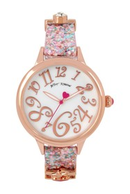 Betsey Johnson Women's Pink Printed Charm Watch
